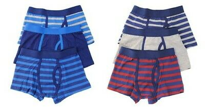 3pk Boys Blue Red Grey Striped Boxer Shorts School Trunks Underwear Ages 5-12yrs