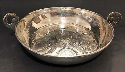 RARE Antique 19C Sterling Silver Spanish Colonial Coin (7) Dish