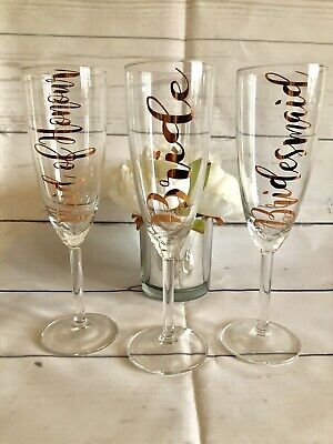 Rose Gold Personalised Champagne Flute Glass Bridesmaid Wedding Favour Gift