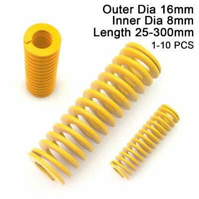 16mm OD Yellow Extra Light Load Compression Mould Die Spring 8mm ID All Sizes