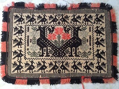 Antique  Afghan Persian Folk Art Hand Woven Wool Embroidered Textile Pillow Mat
