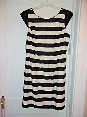 e0adef8611b NWT Antonio Melani Womens Black and White Striped Lined Dress Size 14