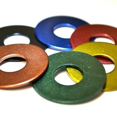 4mm 5mm 6mm 8mm RED BLUE BLACK GREEN BRASS COPPER Stainless Steel Penny Washers