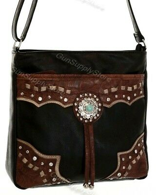 2911e9440135 CONCEALED CARRY PURSE Concealment Western-Style Crossbody  Black/Brown-CCW-9mm