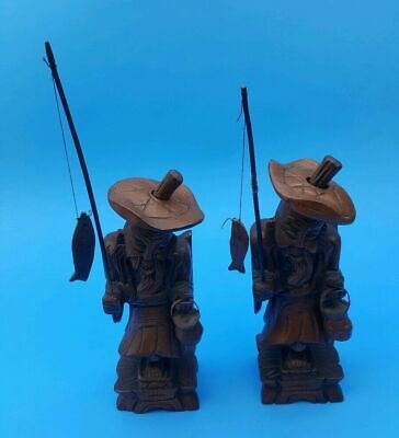 """VTG Lot of 2 Asian Chinese Old Fisherman 8"""" Carved Wood Figurine w/ Fish & Pole"""