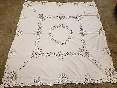 Vintage Battenburg tablecloth with Lace