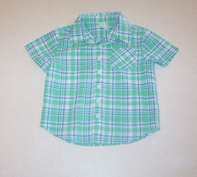 Toddler Boy's Peanut & Ollie Blue, Green and White Plaid Cotton Shirt 2T