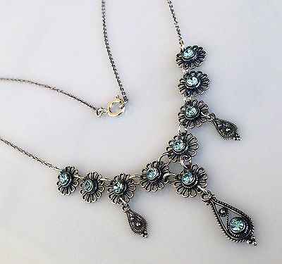 Antique Greek Aquamarine Cz Filigree Necklace Sterling Silver 925 Code 12028