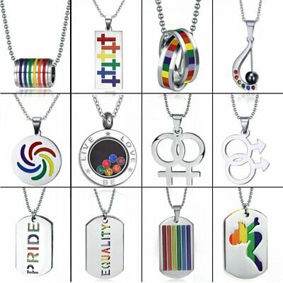 Chic Stainless Steel LGBT Gay Pride Peace Necklace Rainbow Couple Jewelry Gift