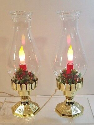 "2 VTG Matching Hurricane Christmas Candle Lights - Gold Base - WORKS - 12"" Tall"