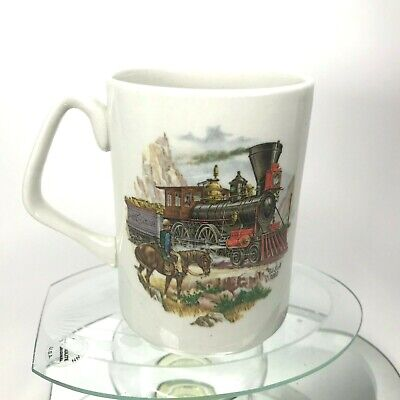 James Kent Old Foley Coffee Mug Classic Trains USA & Holland 18th Century Cup 4""