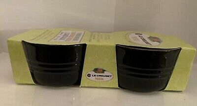 Set of 2 Le Creuset Poterie French Ramekins Stoneware 9.5cm 0.2L Black ( BNIB)