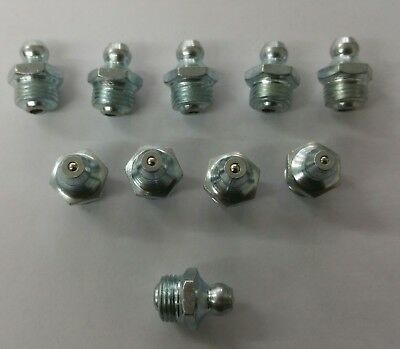 "10 Pack 1/8""bsp Straight Hydraulic Grease Nipples Jcb 3C 3Cx 4Cx 530 532 535 537"