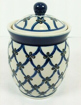 Polish Pottery Stoneware Sugar Bowl Covered Garden Lattice Boleslawiec