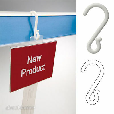 25-100 Strong Durable White Plastic Suspension Display Hooks Shop Fitting POS