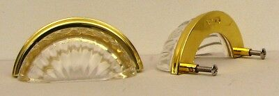 Reproduction Seashell Drawer Pull GOLD Color  Metal and CLEAR Crystal HOME DECOR