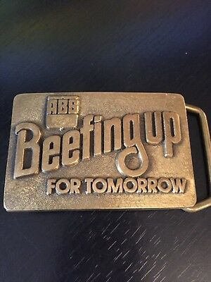 ABS Beefing Up for Tomorrow Belt Buckle USA BTS Solid Brass 1979