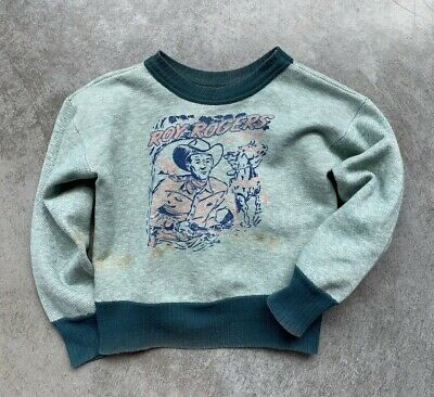 Vintage 1940s Roy Rogers 2 Tone Youth 12 Sweatshirt 1950s Rare Collectible
