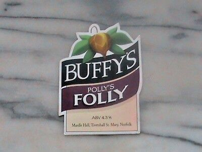Buffy's Polly's Folly real ale beer pump clip sign