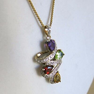 Sterling Silver Pendant 4 semi-precious Stones & Chain 17in 6.0g China [3434]