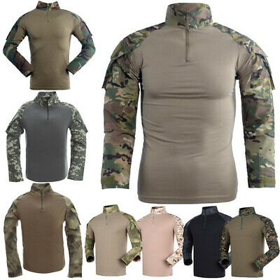 6bba8656cb75 Mens Army Military Battle Combat Camo Tactical Uniform Hunting Game Shirts  Tops
