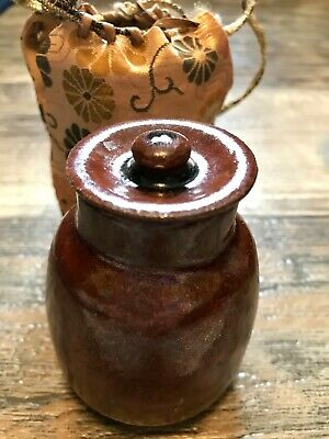 Antique Japanese tea caddie cha-ire with shifuku