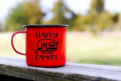 """Happy Camper Decal for Mug or Insulated Cup **20 Color Options 3/""""x3/"""""""