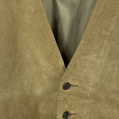 LL Bean Men's Size 38 Vintage Suede Fully Lined Five Button Two Pocket Vest