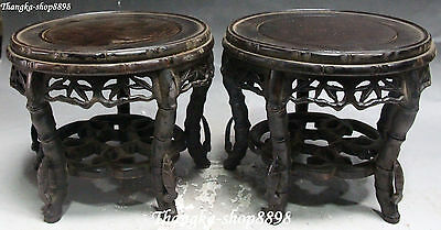 Rare Chinese Ebony Wood Hollow Carving Bamboo Shape Leaf Chair Stool Statue Pair