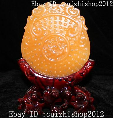 """9""""Chinese Natural Yellow Jade Dragon priceless safety buckle Coin Folding Screen"""