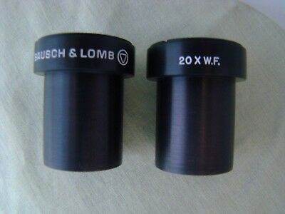 Pair B&L Bausch & Lomb  20x W.F. Eyepieces Stereo Microscope