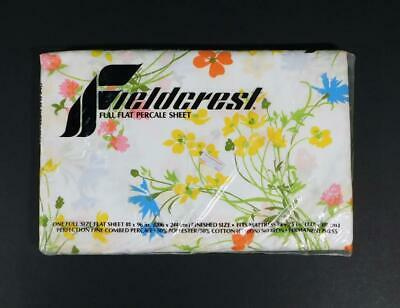 New Vtg FIELDCREST PERFECTION Fine Combed Percale Floral Full Size Flat Sheet