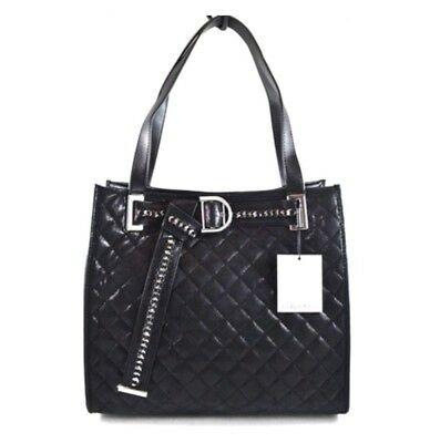 be5ce3ddcdb Calvin Klein R-Nola Black Quilted Faux Leather Tote & Zip Pouch Handbag  Purse