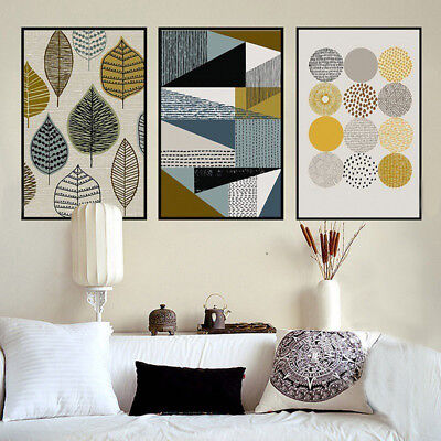 HK- Unframed Abstract Leaf Geometry Home Modern Canvas Wall Art Painting Decor G