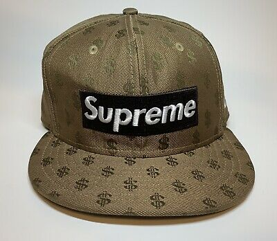 bbfbfe6b Supreme New Era Brown Box Logo Money Monogram Fitted 7 3/8 Hat Cap SS18