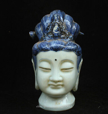 27.5cm Chinese Antique Blue and white porcelain Kwan-yin Buddha head statue QCNG