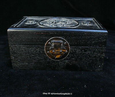 20CM Collect Chinese old Ebony wood Handmade Unicorn box wooden sculpture QFHK