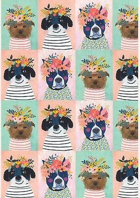 Floral Pets Quilt Panel * Dogs In Bloom * Peach * New * Free Post *