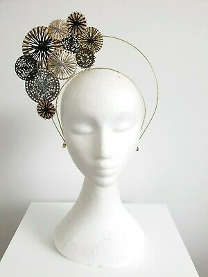 Miss Filigree womens metal disks halo headband fascinator Black,grey and Gold