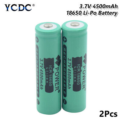 2Pcs Li-Ion Battery 18650 Rechargeable 3.7V 4500Mah High Capacity Batteries 0A6