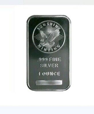 Lot of 5- 1 oz Troy Ounce Sunshine Minting Silver Bar .999 Fine Silver...sealed
