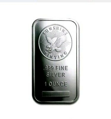 1 oz Troy Ounce Sunshine Minting Silver Bar .999 Fine Silver
