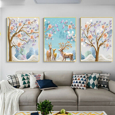 HK- Unframed Nordic Deer Tree Flower Canvas Painting Wall Picture Home Decor Sig