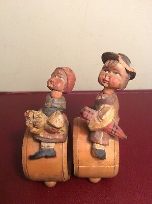 Antique German Collectible Hand Carved Wood Boy & Girl Child's Napkin Ring 1930s
