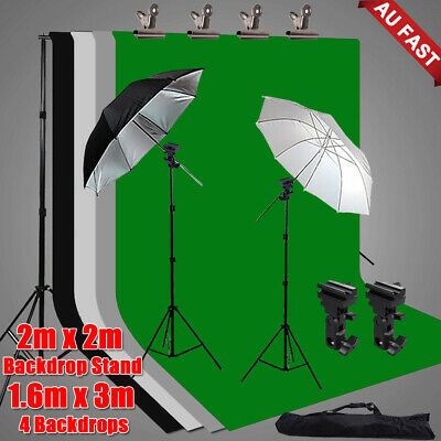 Photo Screen 4 Backdrops+Support Studio Umbrella Flash Lighting Stand Mount Kit