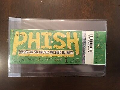 Phish Ticket Stub In Case 08/14/2010 Alpine Valley Music Theatre East Troy, WI