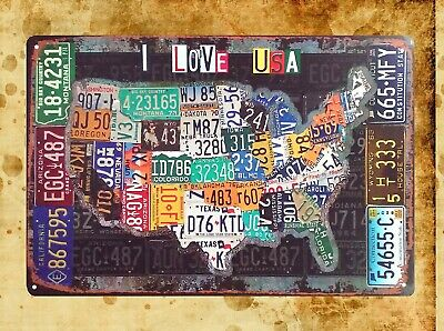 Us Seller Old Signs American Map Car License Plates Tin Metal Sign - Us-plates-map