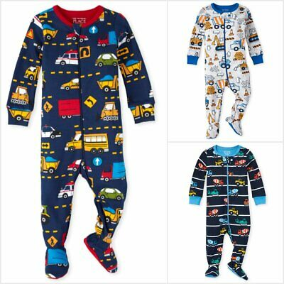NWT The Childrens Place Boy Construction Trucks Footed Stretchie Pajamas Sleeper