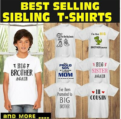Big Brother T Shirt Little Kids Big Bro Sister T-Shirts Cousin Personalized Tees