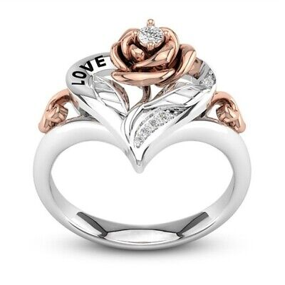 Exquisite Two Tone 925 Silver Flower Ring 14k Rose Gold Flower Wedding Sz6-10